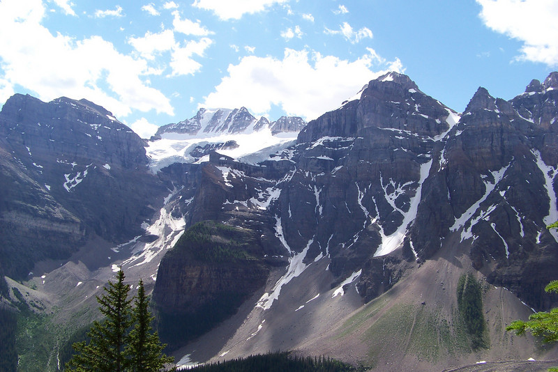 Moraine Lake is cradled in the Valley of the Ten Peaks; unfortunately not all ten will fit in our camera!
