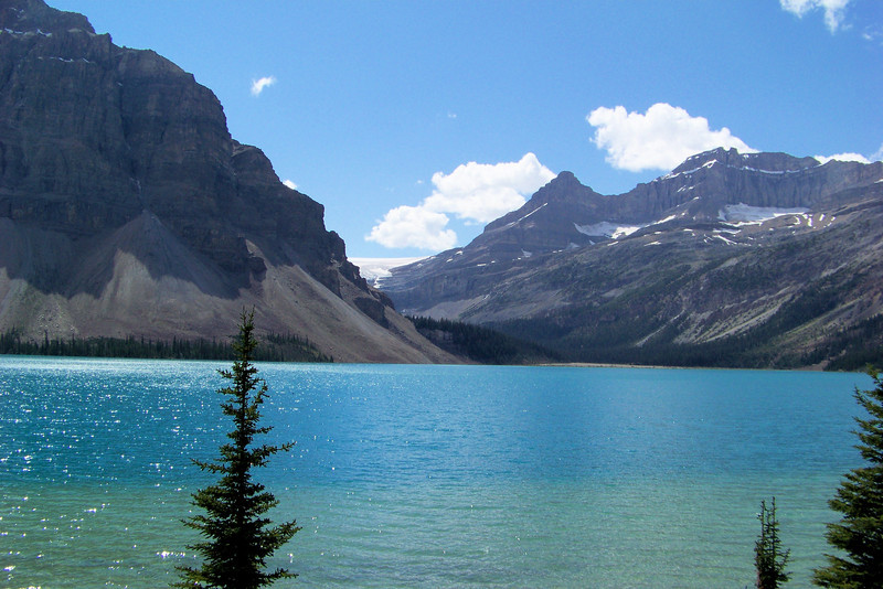 On our drive down the Icefields Parkway, we stop to admire Bow Lake in the afternoon sun.