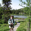 Patti pauses in front of Grizzly Lake