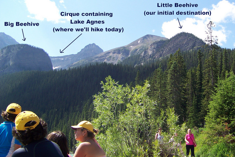 From Lake Louise we can see where our hike will take us:  first to top of Little Beehive, then to Lake Agnes.  We decide our feet will be happier if we skip the hike to Big Beehive.