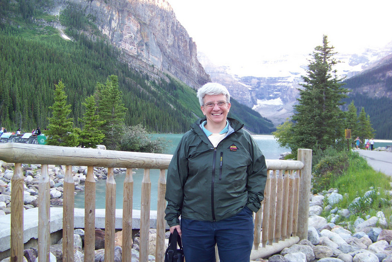 Jeane enjoys the soft evening light after dinner at Lake Louise.