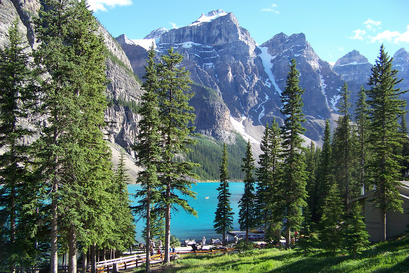 We check into our hotel, the Moraine Lake Lodge, and admire this view from our hotel room balcony.