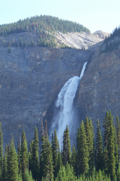 Our hike for the day is the Iceline Trail, which climbs 1,000 feet in the first mile, and gives us increasingly good views of Takakkaw Falls across the valley.