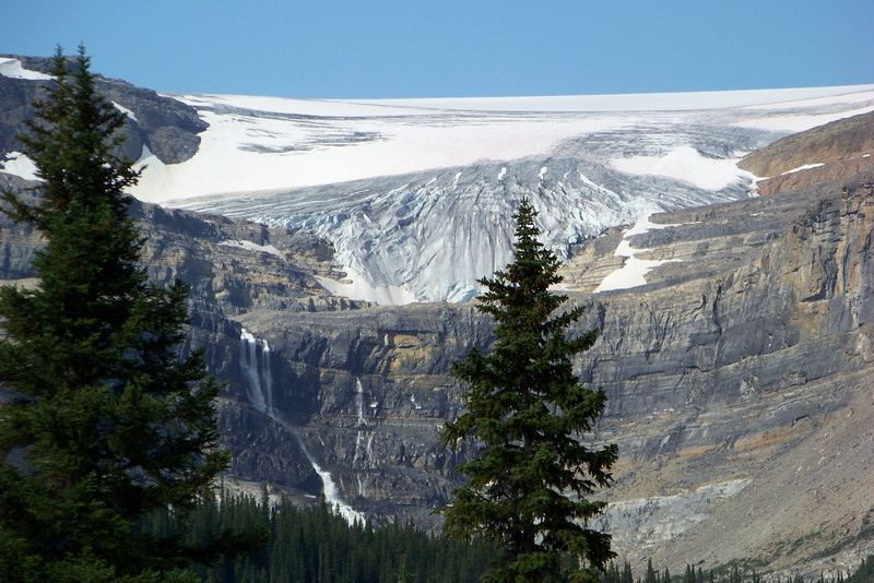 We zoom our camera in on Bow Glacier.