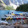 We return to Moraine Lake Lodge for the evening, and wander down to the canoe dock after dinner.
