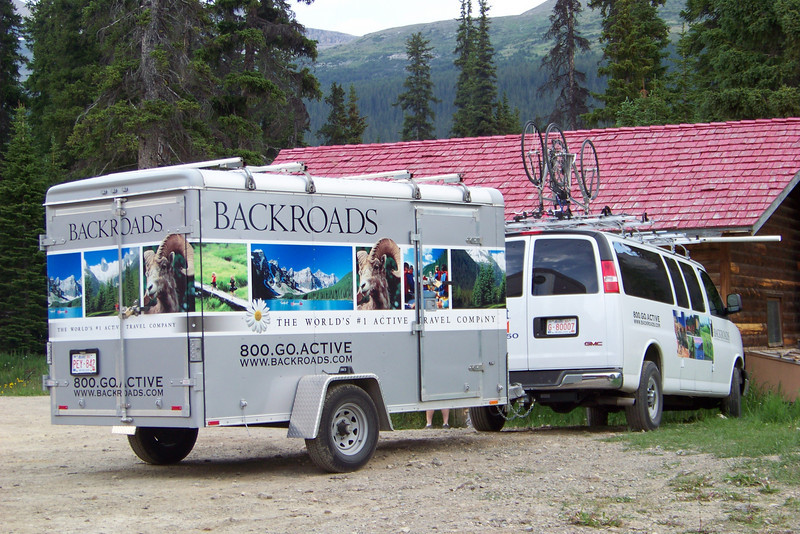We discover that we are following the same itinerary as a Backroads biking group.  We had seen them last night at the Post Hotel, and now they turn up at the Num-Ti-Jah Lodge!  We will run into them tomorrow night as well as the Icefield Centre.