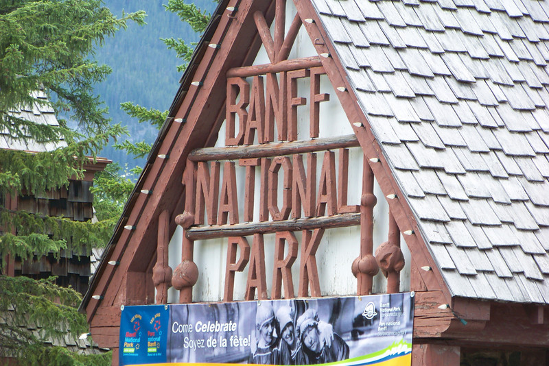 Day 1: July 23rd.  After a morning and afternoon spent flying, we finally arrive at the entrance station of Banff National Park in Alberta, Canada!  Yipee!
