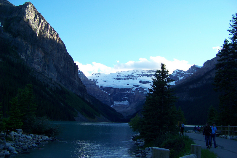 Lake Louise and the Victoria Glacier as the light fades.
