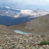 The Daly Glacier overlooking this desolate looking trail we're on.