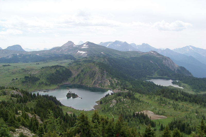 From the Standish viewpoint we can see Rock Isle and Larix Lakes.  The very pointy peak in the distant background (just between the small pointy peaks in the foreground in the center of the photo) is Mount Assiniboine, the highest peak in this part of the Canadian Rockies.
