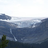 The Bow Glacier feeds an impressive waterfall, which in turn flows into Bow Lake.