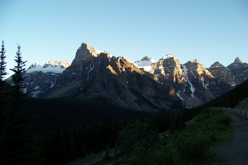 We stop to take photos on the road between Lake Louise and Moraine Lake Lodge.