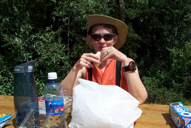 After our hike we head south again on the Icefields Parkway, stopping at a picnic area to eat the lunch we'd picked up this morning.