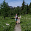 Jeane smiles for the camera on our Sunshine Meadows hike.