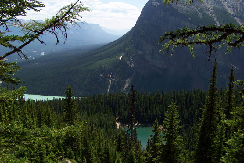 As we hike toward the Lake Agnes Teahouse, we can see Mirror Lake below us, and Lake Louise further back.