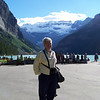 We have a dinner reservation for fondue at Chateau Lake Louise, so we head down to Lake Louise.  Jeane admires the lake, and the horde of people surrounding it.