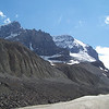Our Ice Explorer drives up the Athabasca Glacier, but we have views of many other glaciers on the edges of this valley.