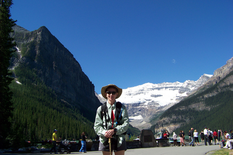 Patti is ready to start our hike to the Plain of Six Glaciers Teahouse.  The hike begins at Lake Louise.