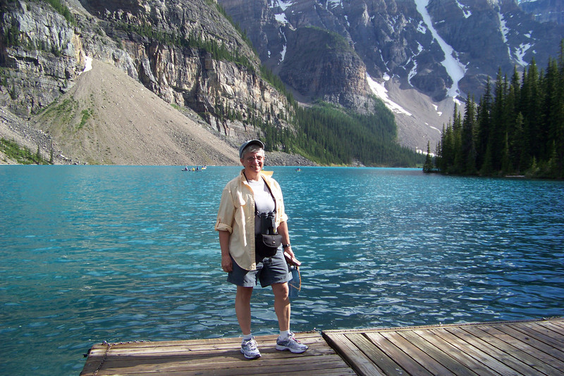 Jeane says a fond farewell to Moraine Lake, since we have to travel on.