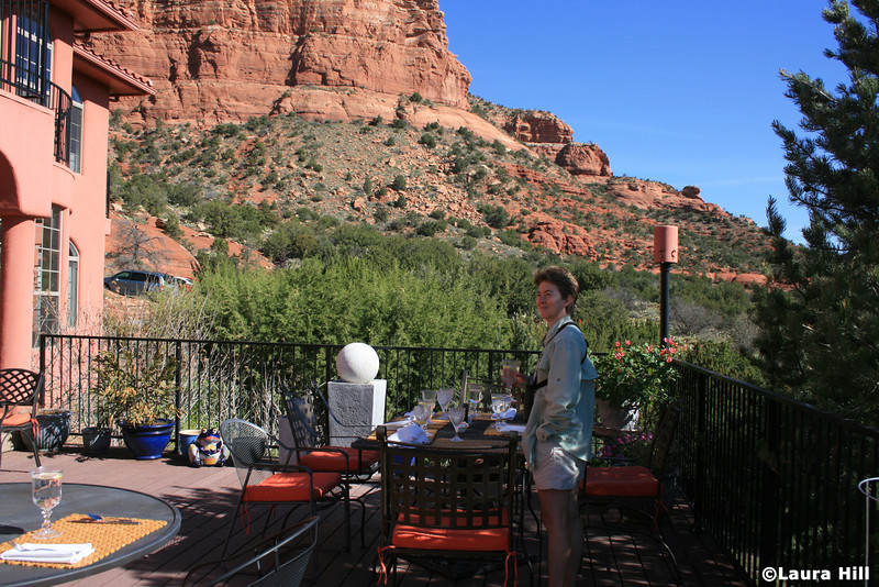 Breakfast is served on the deck at the Penrose B&B...we enjoy watching the birds of the high desert while we wait.  Photo by Laura