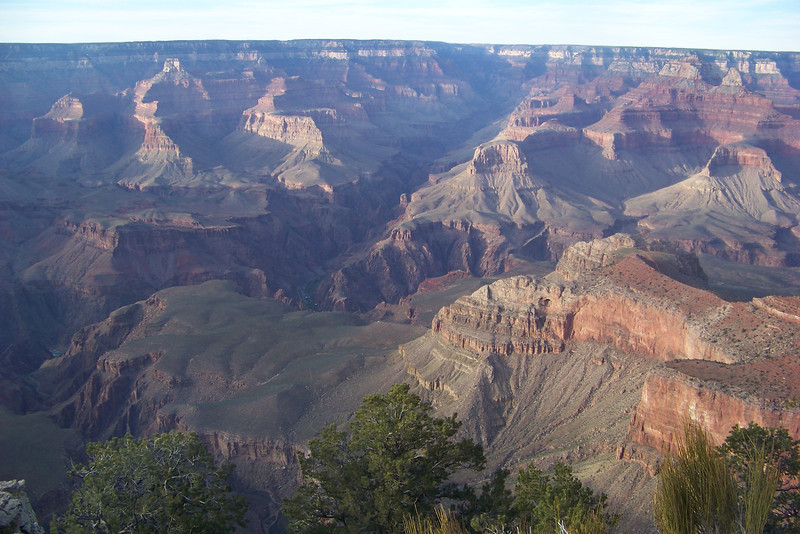 A view from Mather Point -- That small bit of dark green in the inner canyon is Phantom Ranch and Bright Angel Campground, where we'll hike to on the day after tomorrow.  Egads!  April 16, 2011