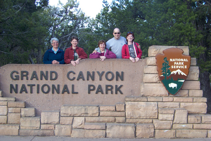 After four hours of driving, we arrive at the park entrance!  The temperature dropped significantly as we climbed to the Coconino Plateau.  Photographing the sign is so popular there is a large parking area and a stand where you can set up your camera to use the self-timer!  April 16, 2011
