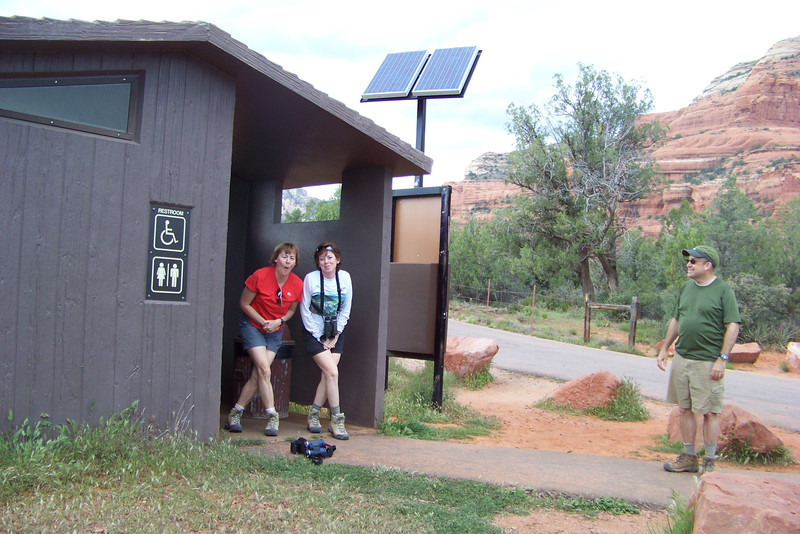 After our hike we take off in search of the nearest major trailhead with a latrine, and find one at the Boynton Canyon trailhead.  Jeane is obviously taking her time!