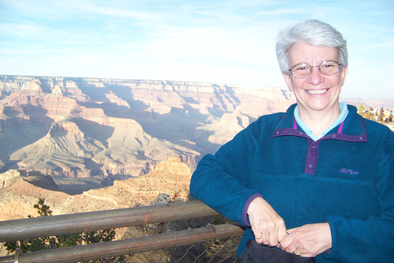 Jeane at Mather Point, looking a little weary from the hard driving she did.