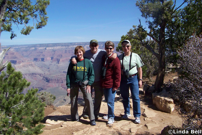 Day 2: We decide to spend the morning driving along the Desert View Drive on the South Rim, exploring the various overlooks.  We start at Pipe Creek Vista.  Thanks go to Linda for this photo.  April 17, 2011