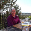 Jeane awaits our first fabulous breakfast at the Penrose.  Photo by Linda
