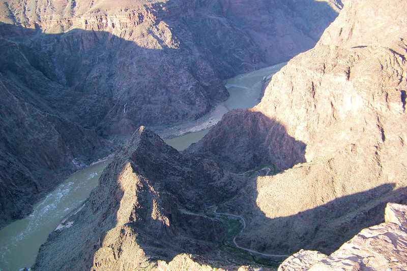 We see the Colorado River now far below us...but realize we still have twice that vertical distance to cover tomorrow!