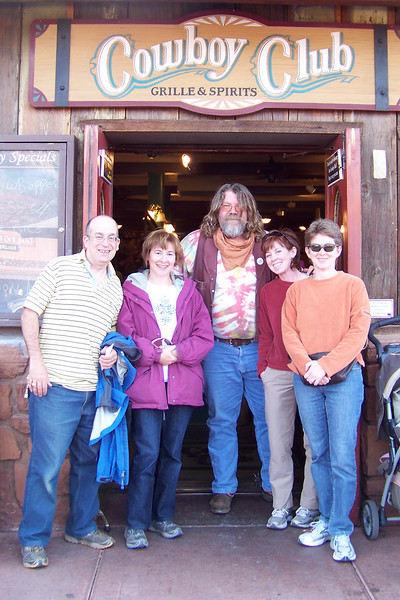 Dinner is in the Silver Saddle room of the Cowboy Club; this odd man (hippie, or cowboy?) invited himself to join our photo.