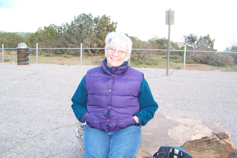 Jeane parks herself on a rock, slightly back from the crowds forming at the edge of the mesa.