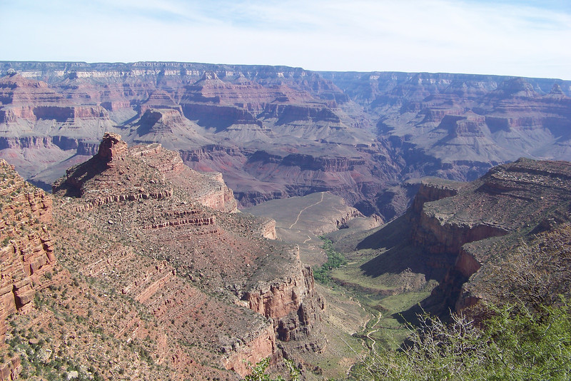 The view changes quickly as we climb; Battleshp Rock and Plateau Point are far below us now.