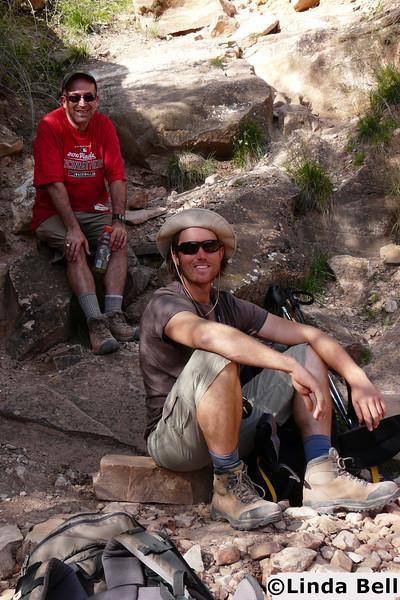 Linda photographed the men on our trip, enjoying their gatorade.