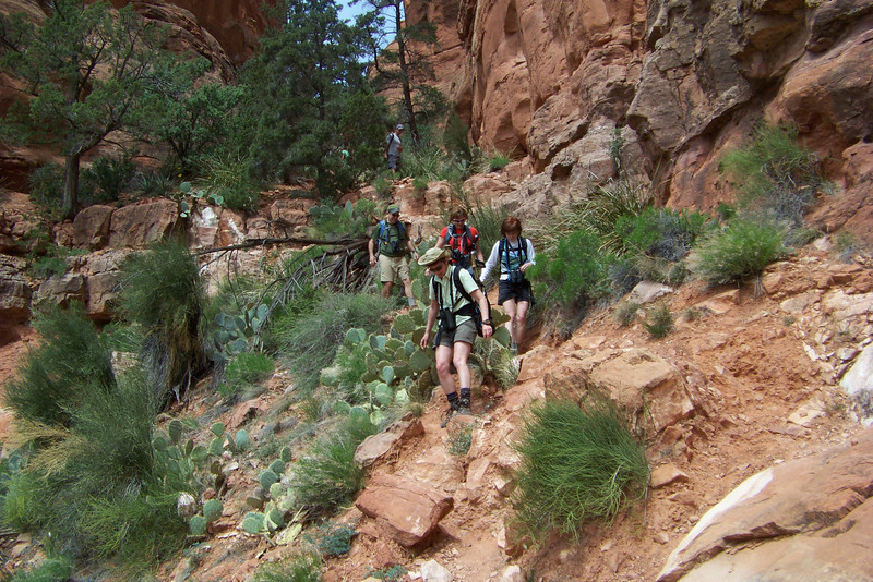 Remarkably, in spite of a seriously steep slope down loose rock, none of us falls.