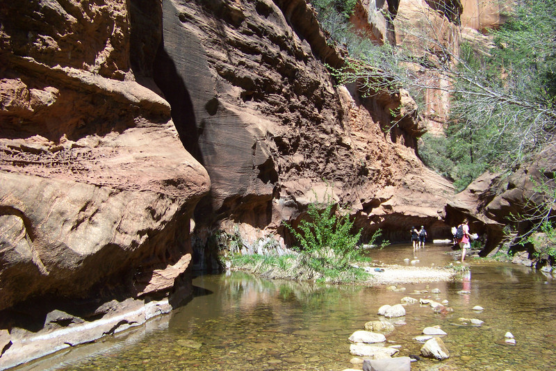 We reach the end of our hike; at this point the walls of the slot canyon close in and in wading is required in order to continue.