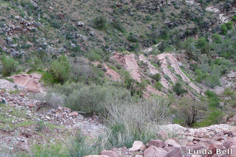 Linda took this photo showing one lovely set of switchbacks we conquered.