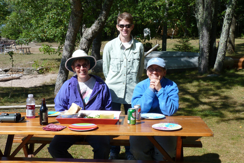 Sue and Linda serve us a lovely meal at the picnic table before we leave them to head south toward Lake Superior.