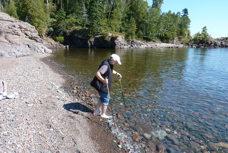 Jeane decides to partake in a rite of passage; getting her feet into Lake Superior.