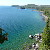 The view of Lake Superior  from a trail at the Split Rock Lighthouse.
