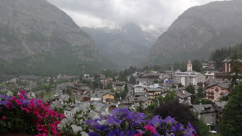 Views of Courmayeur from our hotel (Grand Hotel Royal e Golf)