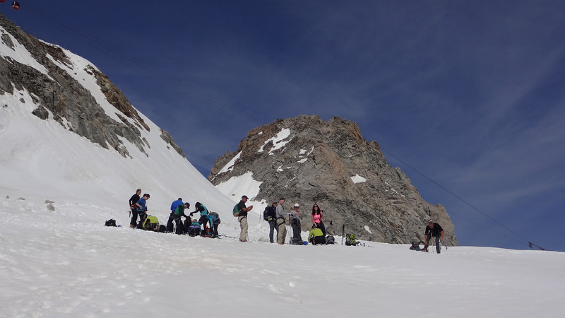 Our Backroads group is divided into small groups for the glacier hike...those are the fast folks roping up.