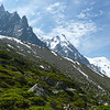 The Aiguille du Midi is a constant presence throughout our hike.
