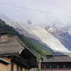 From our hotel balcony we see the glacier overlooking Chamonix.