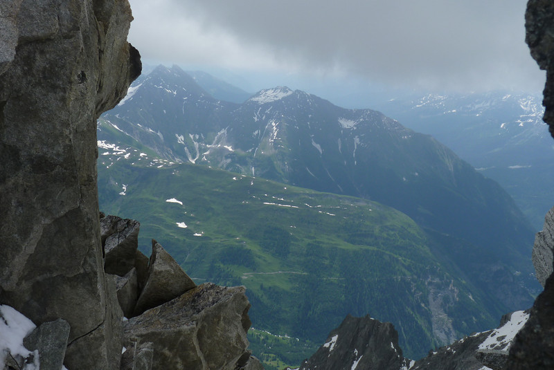 It feels funny to look down from the glacier into the green valley.