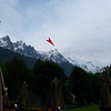 The red arrow points to the Aguille du Midi, where we'll head first thing tomorrow morning.