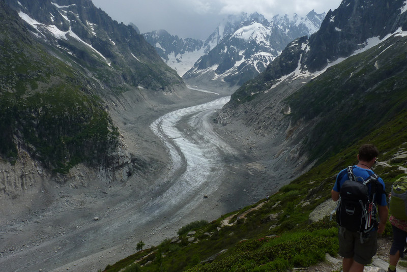 The Mer de Glace is our constant companion.