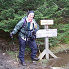 Jeane is fully layered and ready to scramble up to the summit of Camel's Hump.