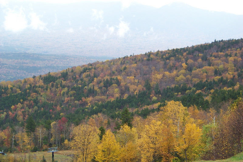 Mount Washington is obscured all day by clouds and fog, but what remains of the fall leaf color is still lovely.
